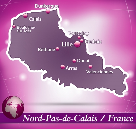 lille: Map of North-pas-de-calais with abstract background in violet