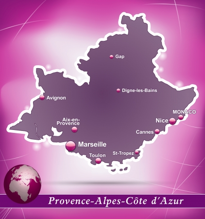 d���azur: Map of Provence-Alpes-Cote d Azur with abstract background in violet Illustration