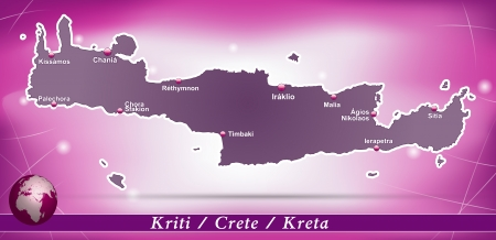 Map of Crete with abstract background in violet