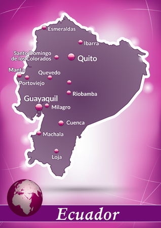 Map of ecuador with abstract background in violet 矢量图像