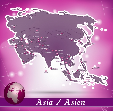 yerevan: Map of Asia with abstract background in violet