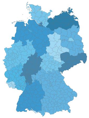 Carte de l'Allemagne avec des frontières en bleu