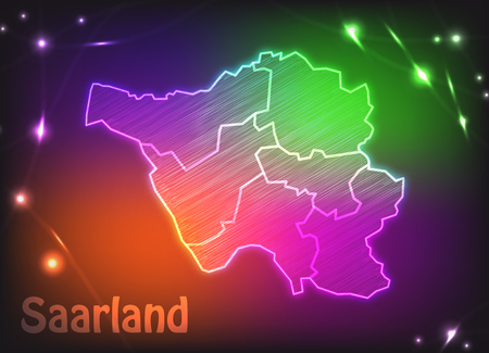 saarlouis: Map of Saarland with borders as colorful scribbble