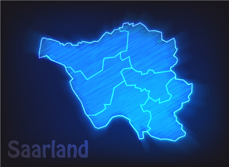 saarland: Map of Saarland with borders as scrible