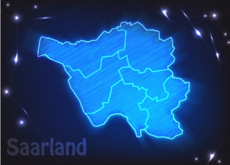 saarlouis: Map of Saarland with borders as scrible