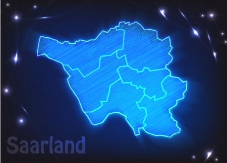 saarlouis: Mapa de Saarland con fronteras como scrible
