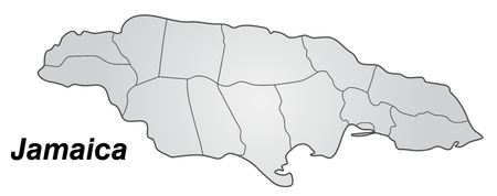 black maria: Map of Jamaica with borders in gray