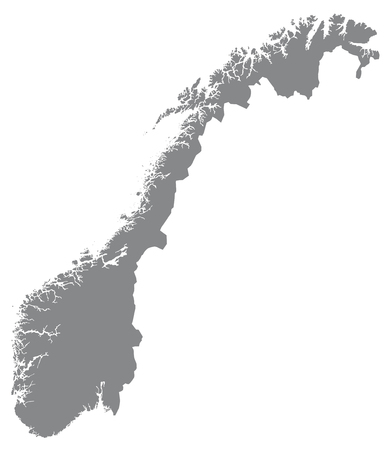 fredrikstad: Map of Norway with borders in gray Illustration