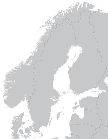 Map of Scandinavia with borders in gray
