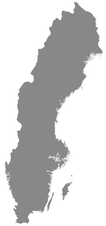 sverige: Map of Sweden with borders in gray