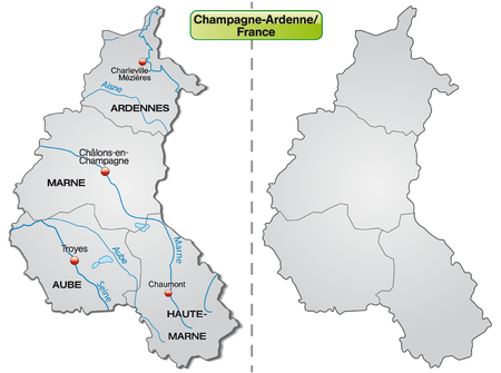 reims: Map of Champagne-Ardenne with borders in gray Illustration