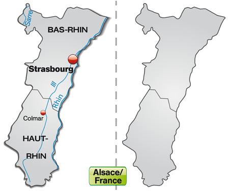 Karte von Elsass mit Rahmen in grau