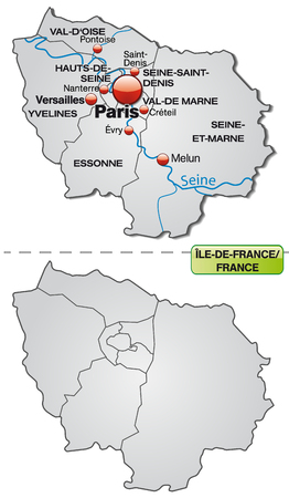 versailles   france: Map of Ile-de-France with borders in gray