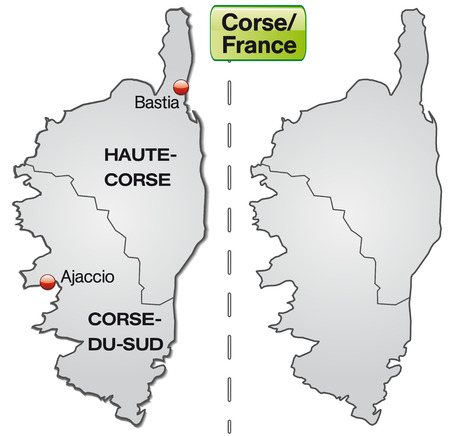 corsica: Map of corsica with borders in gray