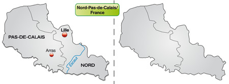 lille: Map of North-pas-de-calais with borders in gray