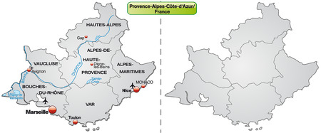 azur: Map of Provence-Alpes-Cote d Azur with borders in gray Illustration