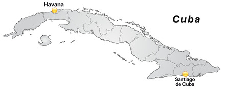 guantanamo: Map of Cuba with borders in gray