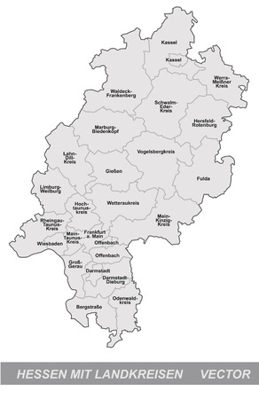 Map of Hesse with borders in gray