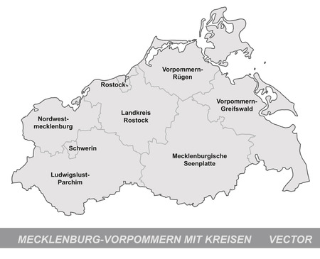 greifswald: Map of Mecklenburg-Western Pomerania with borders in gray