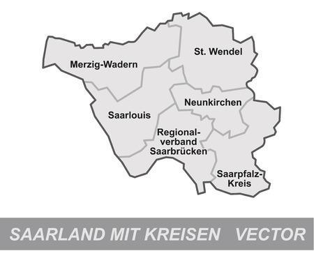 saarlouis: Mapa de Saarland con bordes en gris Vectores