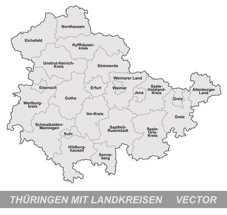 Kaart van Thüringen met randen in grijs