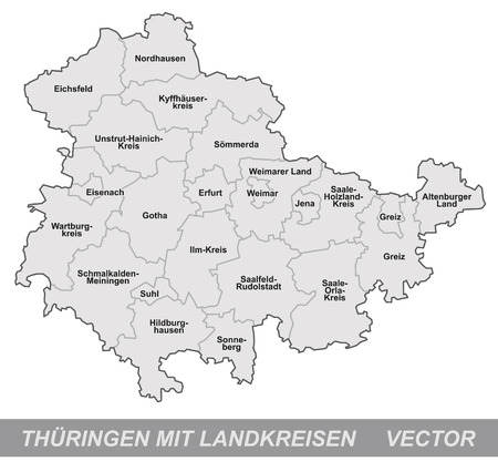 Map of thuringia with borders in gray