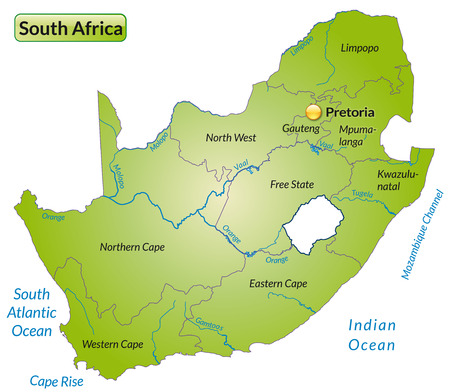 Map of south africa with borders in green