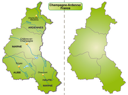 Map of Champagne-Ardenne with borders in green