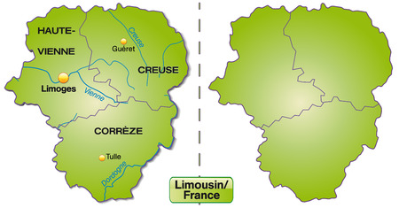 limousin: Map of limousin with borders in green
