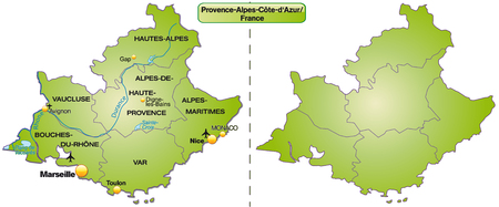 d���azur: Map of Provence-Alpes-Cote d Azur with borders in green
