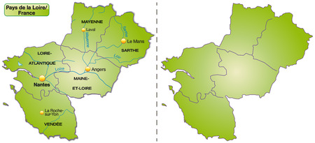 pays: Map of Pays de la Loire with borders in green Illustration