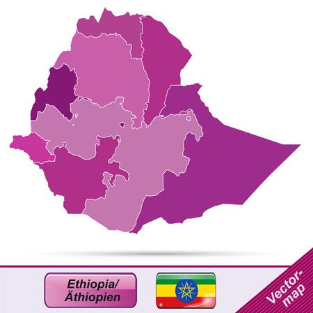 ethiopia: Map of Ethiopia with borders in violet