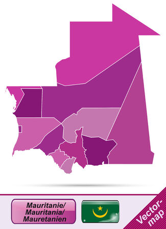 mauritania: Map of mauritania with borders in violet