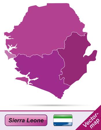 sierra: Map of sierra leone with borders in violet