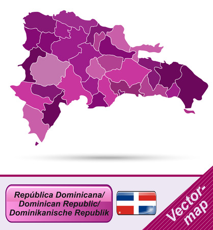 Map of Dominican Republic with borders in violet Vector