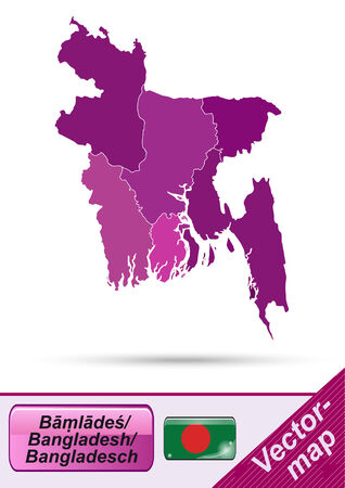 bangladesh: Map of Bangladesh with borders in violet Illustration