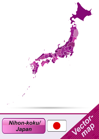 kobe: Map of Japan with borders in violet Illustration