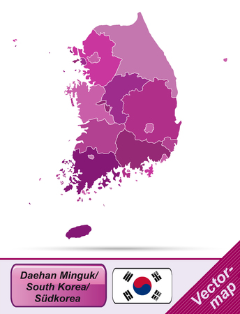 Kaart van Zuid-Korea met randen in violet
