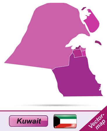 kuwait: Map of Kuwait with borders in violet
