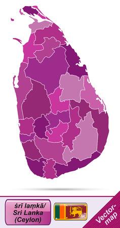 sri: Map of Sri Lanka with borders in violet
