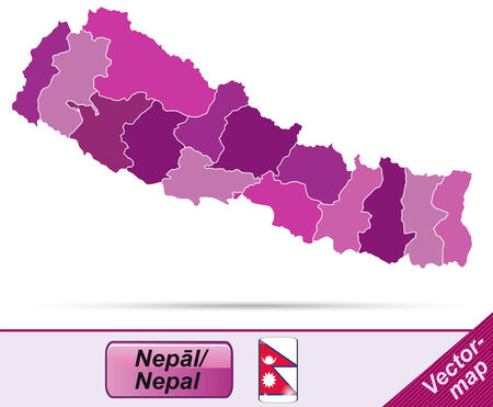 Map of Nepal with borders in violet Иллюстрация