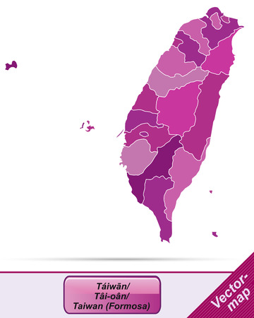Map of Taiwan with borders in violet