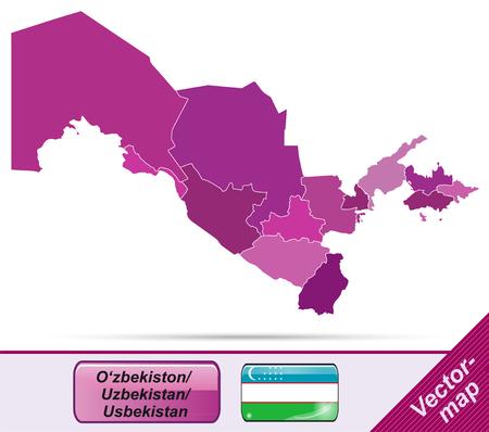 oezbekistan: Kaart van Oezbekistan met randen in violet Stock Illustratie