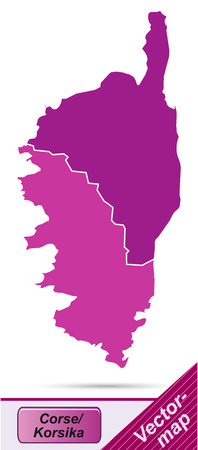 corsica: Map of corsica with borders in violet