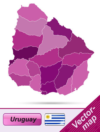 uruguay: Map of Uruguay with borders in violet