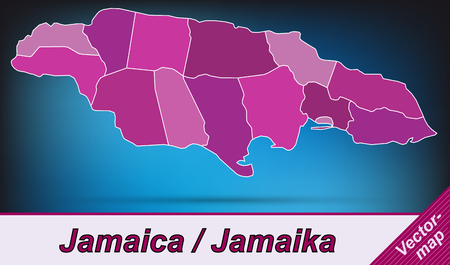 kingston: Map of Jamaica with borders in violet