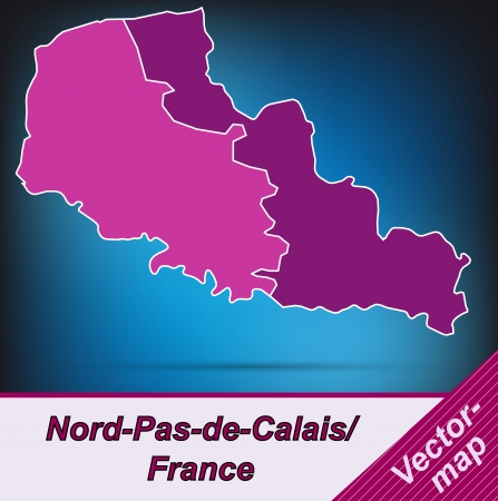 sur: Map of North-pas-de-calais with borders in violet