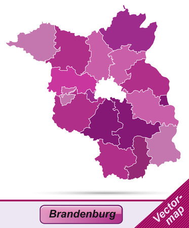 falkensee: Map of Brandenburg with borders in violet