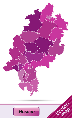 Map of Hesse with borders in violet