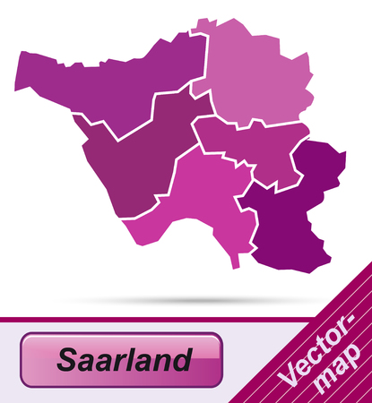 saarlouis: Map of Saarland with borders in violet